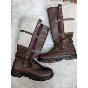 PAJAR Brown Leather Zip Up Sherpa Winter Boots